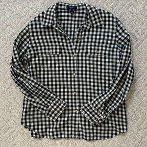 Chaps Button Down, Black + White, Size XL